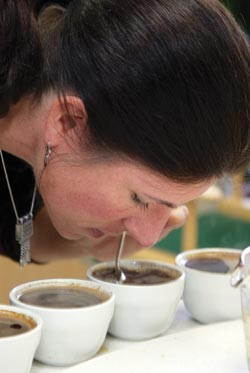 Lindsay Bolger cupping coffee.