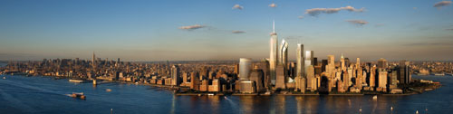 artist rendition of new york skyline with new world trade center