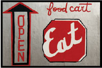 Illustration of open sign and food cart
