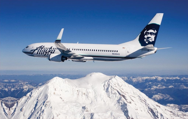 Alaska Airlines Airplane over Mt. Rainier