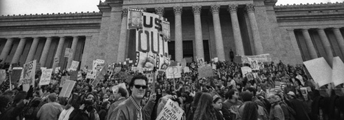 Community members and Evergreen students lead a march on the Capitol in protest of the Gulf War, April 1, 1991