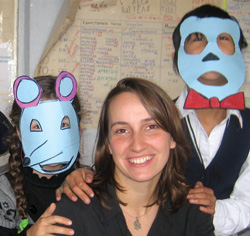 Jenny Reed with Kids making masks