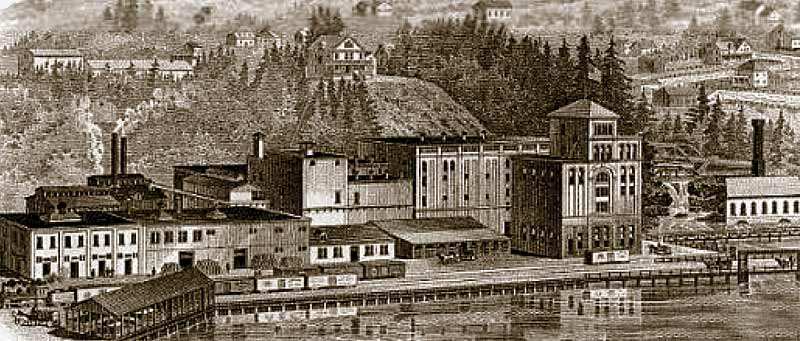 Historical etching of the original Olympia Brewery