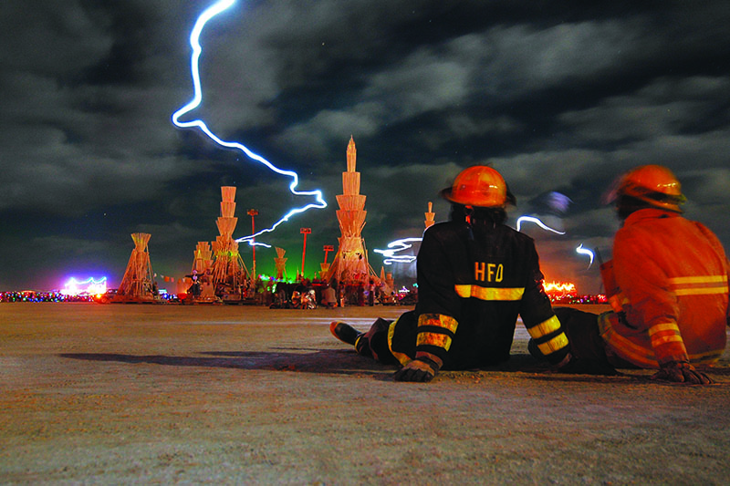 Photo of emergency service volunteers at the 2006 Burning Man festival.