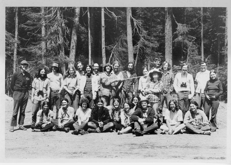 E2 1973 group contract at Malheur with Steve Herman (standing, far left) and Devi Sharp (seated, far left).