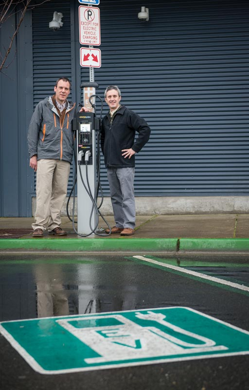 Center for Sustainable Infrastructure Director Rhys Roth (right) has consulted with Rich Hoey, Director of City of Olympia Public Works (left) as Olympia adopts a variety of forward-thinking infrastructure solutions such as electric vehicles.
