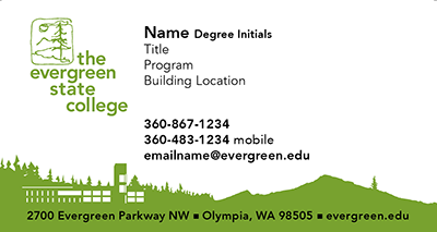 Business cards the evergreen state college business card sample reheart Gallery