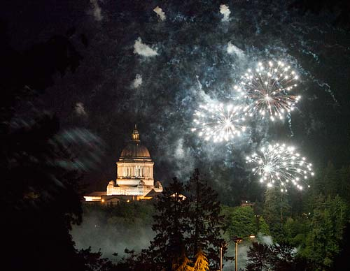 washington state capitol with fireworks display