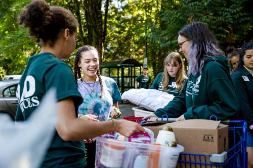 Students move into the residence halls before they start fall quarter