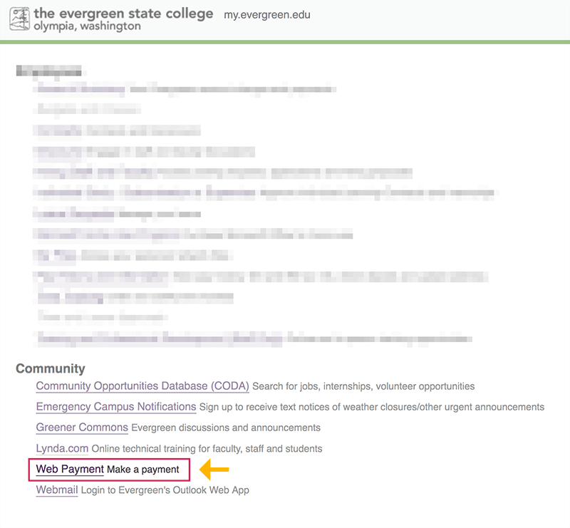 """Choose the """"Web Payment"""" link under the """"Community"""" heading."""