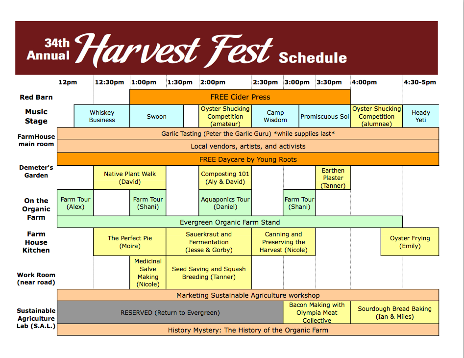 34th Annual Harvest Fest Schedule