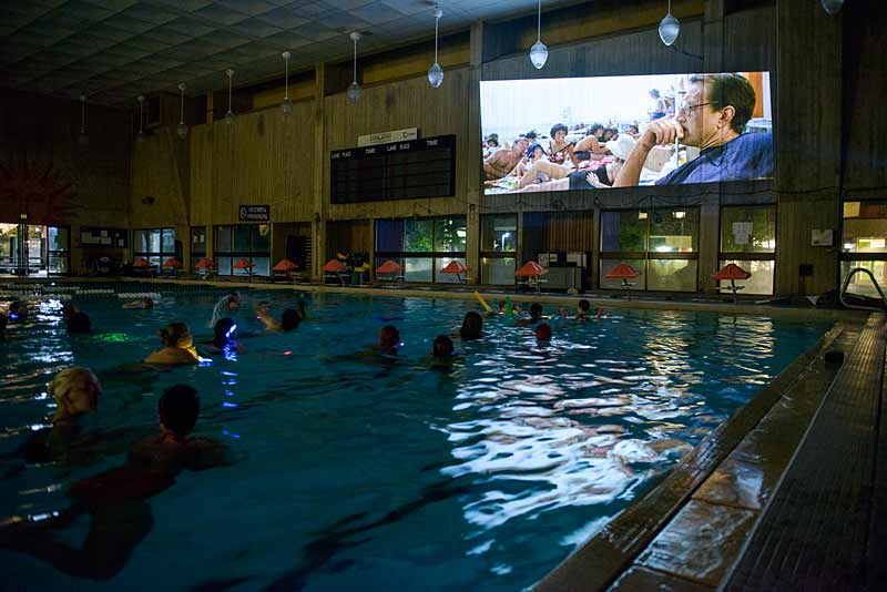 Students watch Jaws in the CRC Pool
