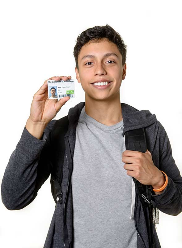 A student with his new student ID