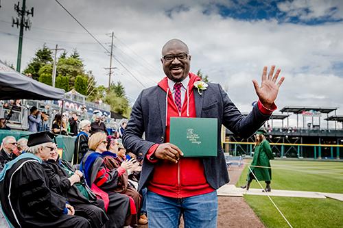 Kelsall at 2017 graduation ceremony