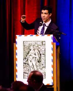 Andrew Ayala speaks at the Art of Giving Gala