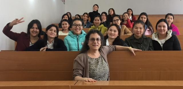 Nancy Koppelman at Kazakhstan's Taraz State Pedagogical University