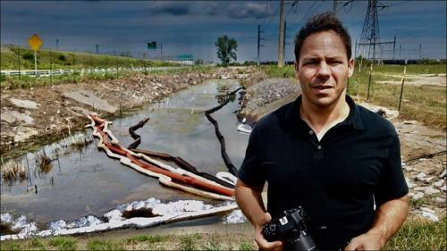 Zaragoza at oil spill site, Gary Airport, Gary, Ind.,