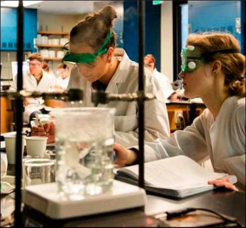 Students in chemistry lab, 2014