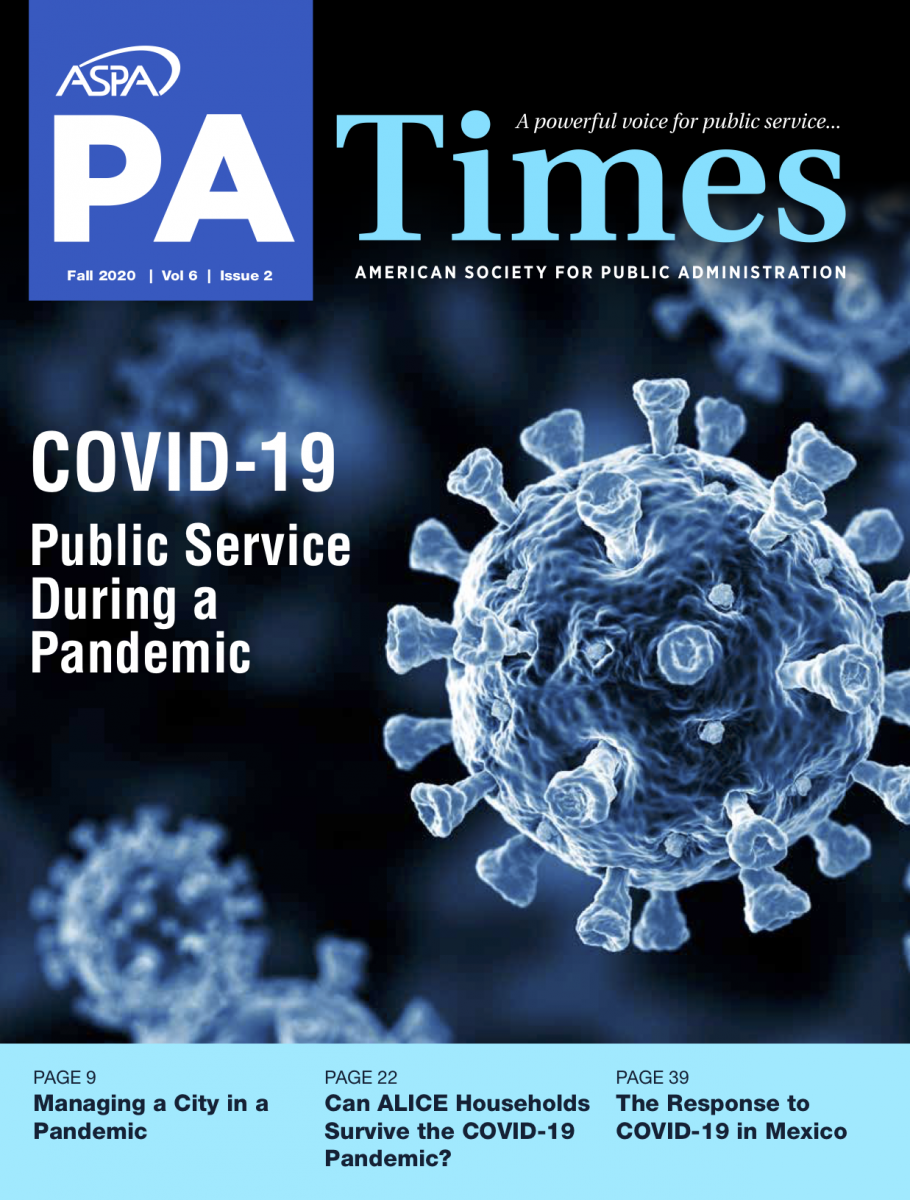 Image of Blue Front Cover of 2020 Fall American Society for Public Administration PA Times Magazine