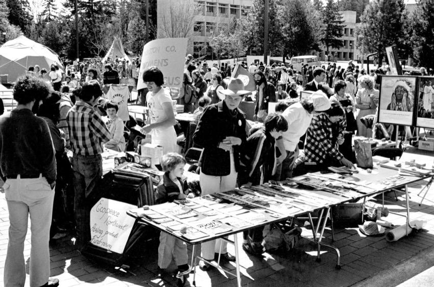 An Earthfair celebration on Red Square in Evergreen's early days.