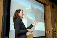Faculty member Carri LeRoy gives presentation on plants and streams to Evergreen students