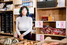 Campus food bank coordinator Jordan Billiot '17