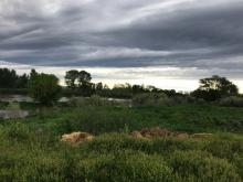 View of the Yakima River and farm lands with a cloudy sky.