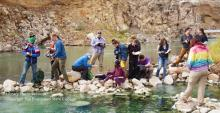 Students of Environmental Analysis working near the Shoshone River during a weeklong field study in Yellowstone.