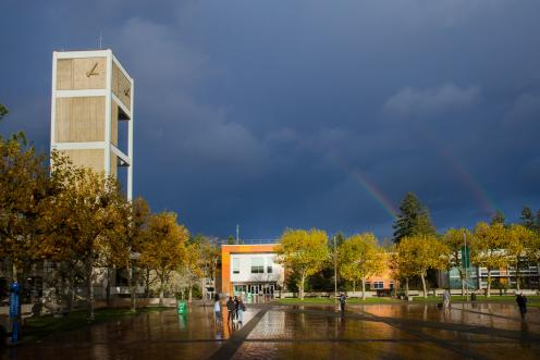 Fall Clock Tower Rainbow
