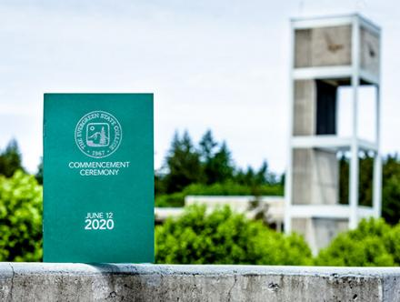 graduation program by the clock tower