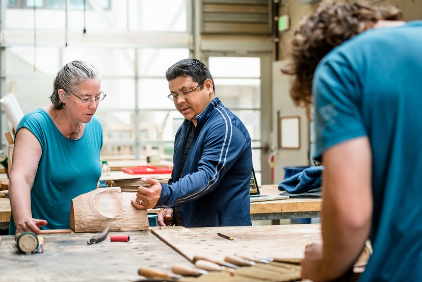 students in Native Woodcarving