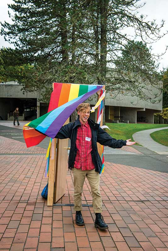 "For National Coming Out Day, members of the  student group T-Rex (Transgender Resources and  Education X-travaganza!) set up a  "" closet ""  on Red  Square and invited students to come out in any  way they'd like."