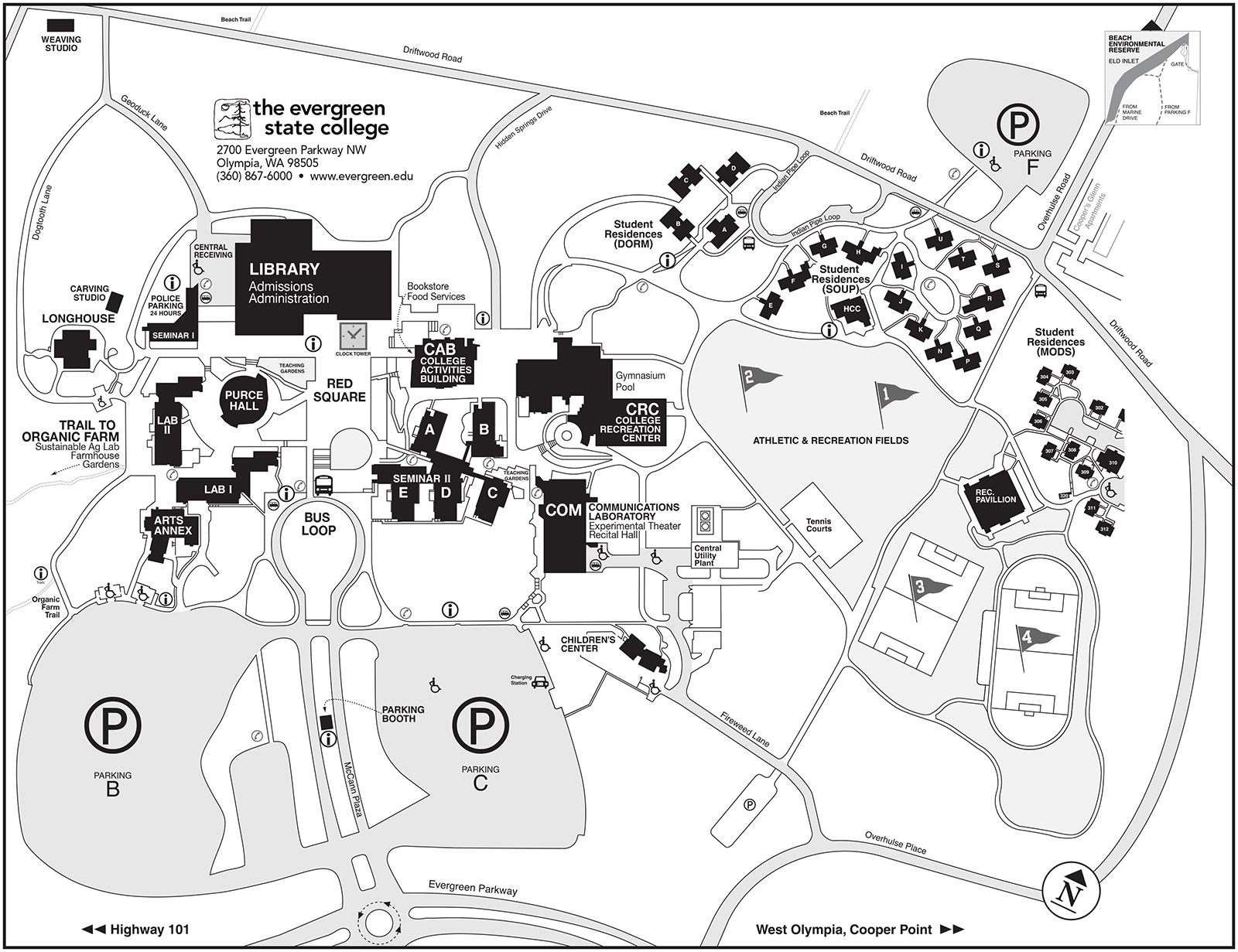 detailed campus mapa detailed printable map of the evergreen olympia campus