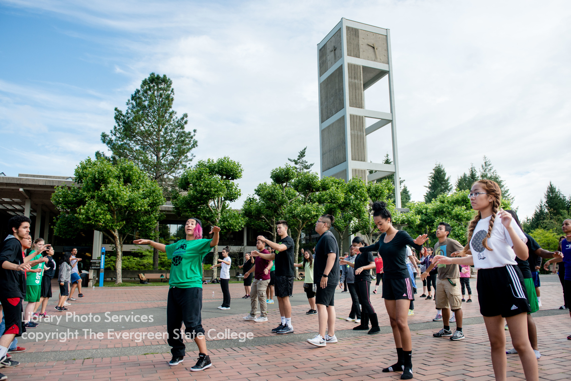 Upward bound students participate in Dance Fitness on Red Square