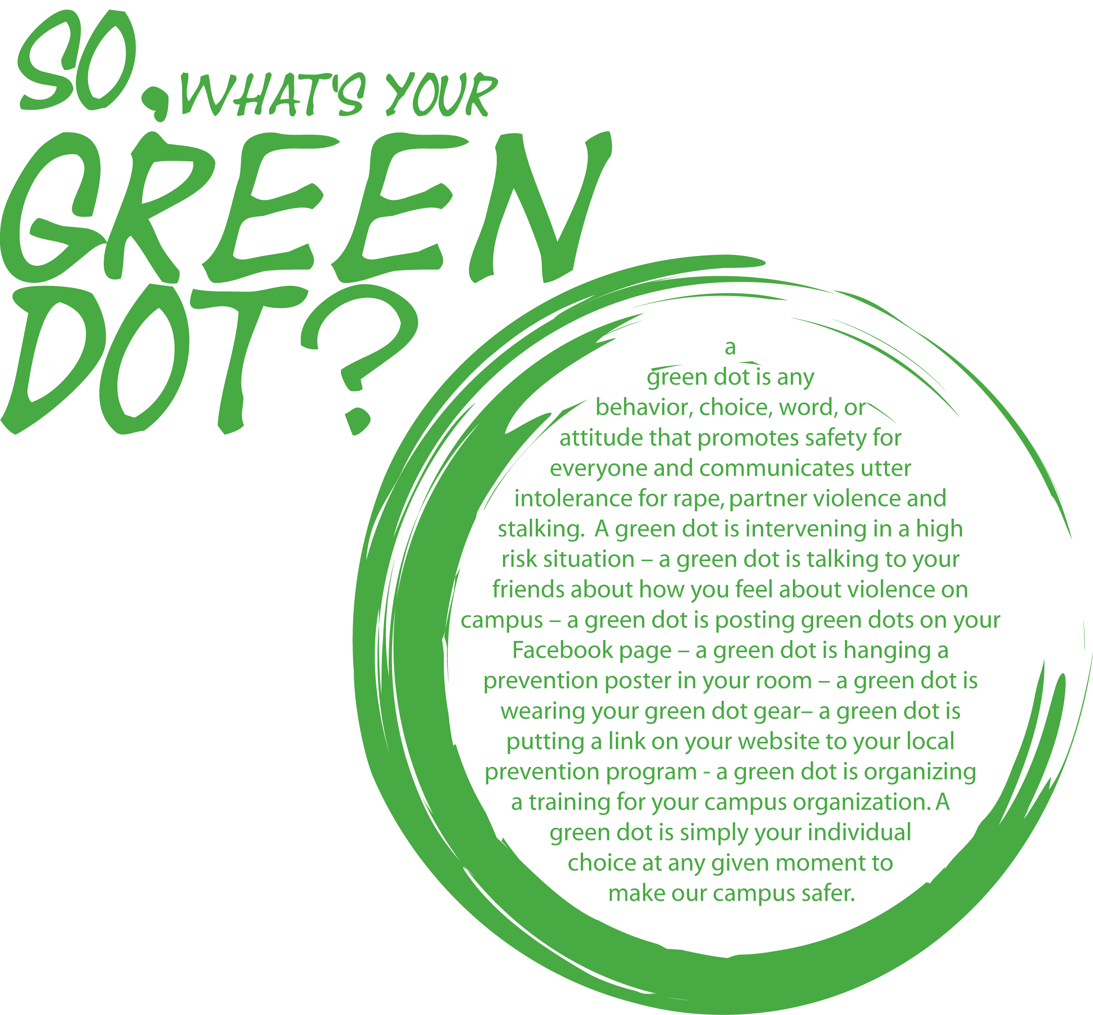 A Green Dot is any behavior, choice, word, or attitude that promotes safety for everyone and communicates utter intolerance for rape, partner violence, or stalking.